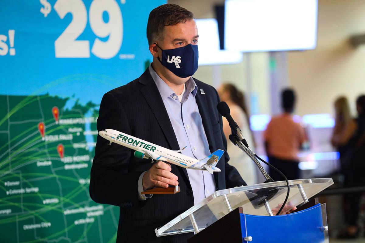 Chris Jones, chief marketing officer for McCarran International Airport, announces that five ne ...