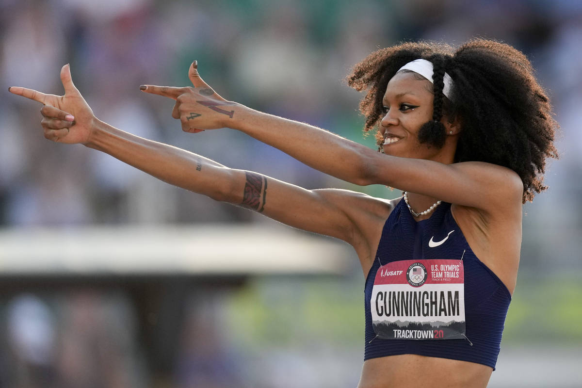 Vashti Cunningham competes during the finals of the women's high jump at the U.S. Olympic Track ...
