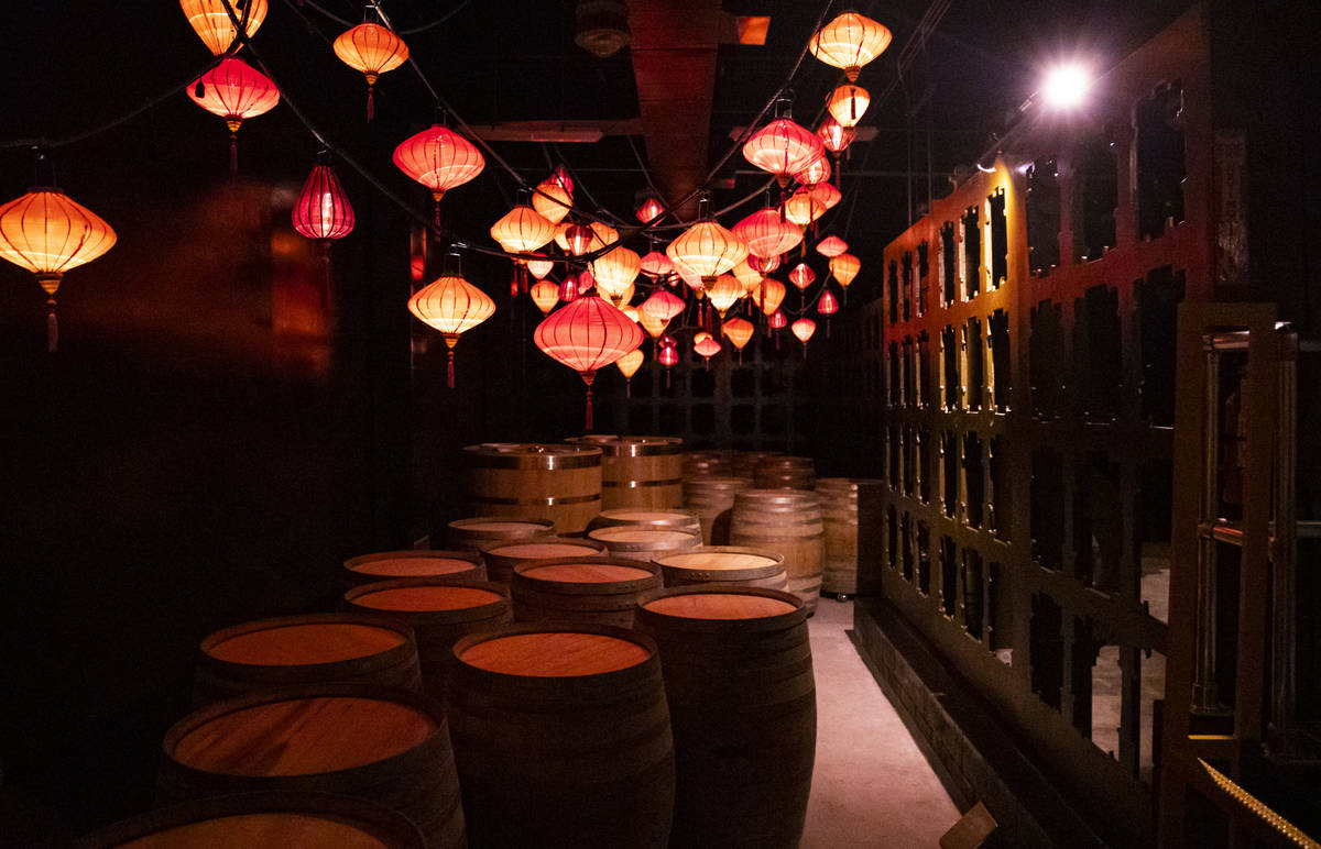 Barrels are pictured during a tour of Lost Spirits Distillery, an immersive experience along wi ...