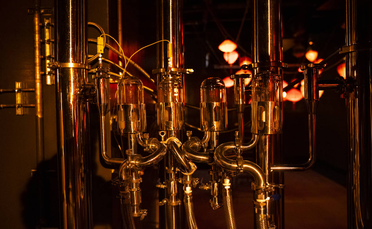 Brewing equipment is seen during a tour of Lost Spirits Distillery, an immersive experience alo ...