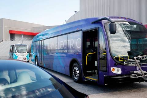 The Proterra Catalyst electric bus on display during the Clean Energy and Transportation Summit ...