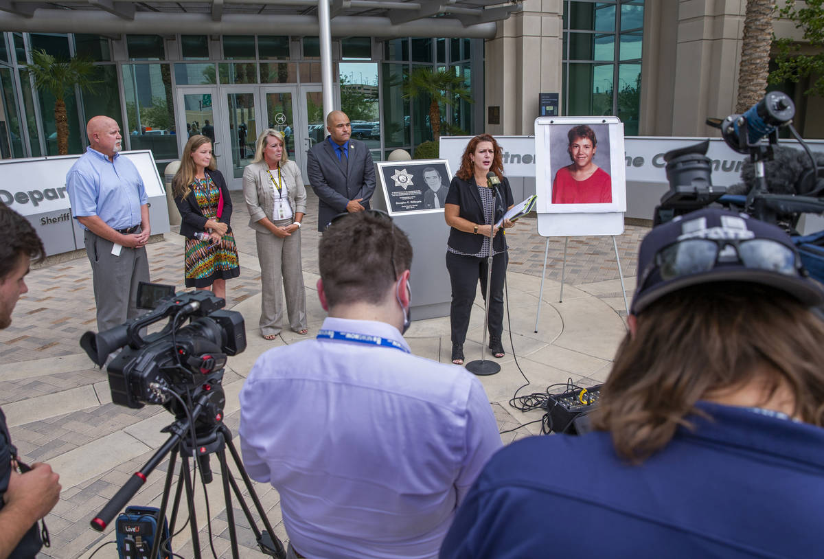 Forensics Director Kim Murga speaks during a press conference as Las Vegas police homicide dete ...