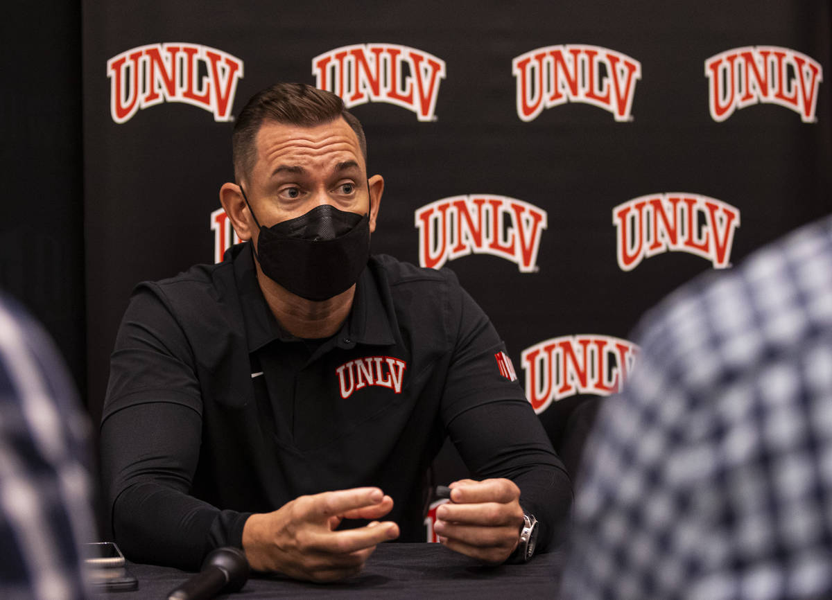 UNLV football coach Marcus Arroyo responds to questions during Mountain West Conference media d ...