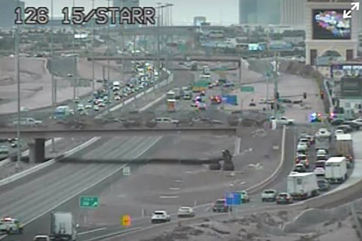 A stretch of Interstate 15 in the south valley was closed Wednesday afternoon because of police ...