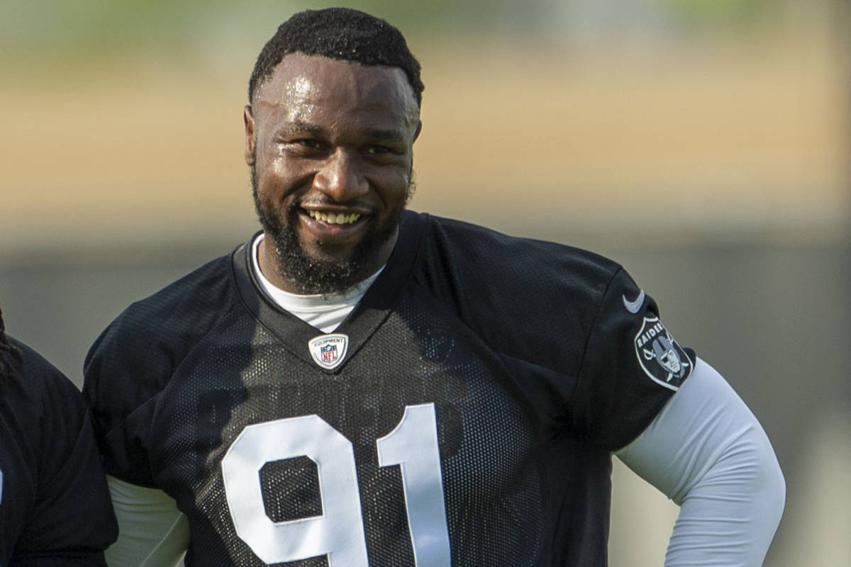 Raiders defensive end Yannick Ngakoue (91) during an NFL football practice on Tuesday, June 15, ...
