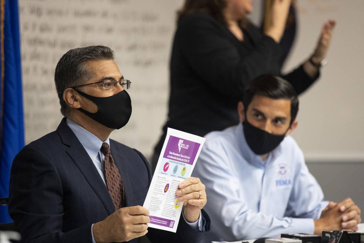 U.S. Health and Human Services Secretary Xavier Becerra, left, with FEMA Acting Associate Admin ...