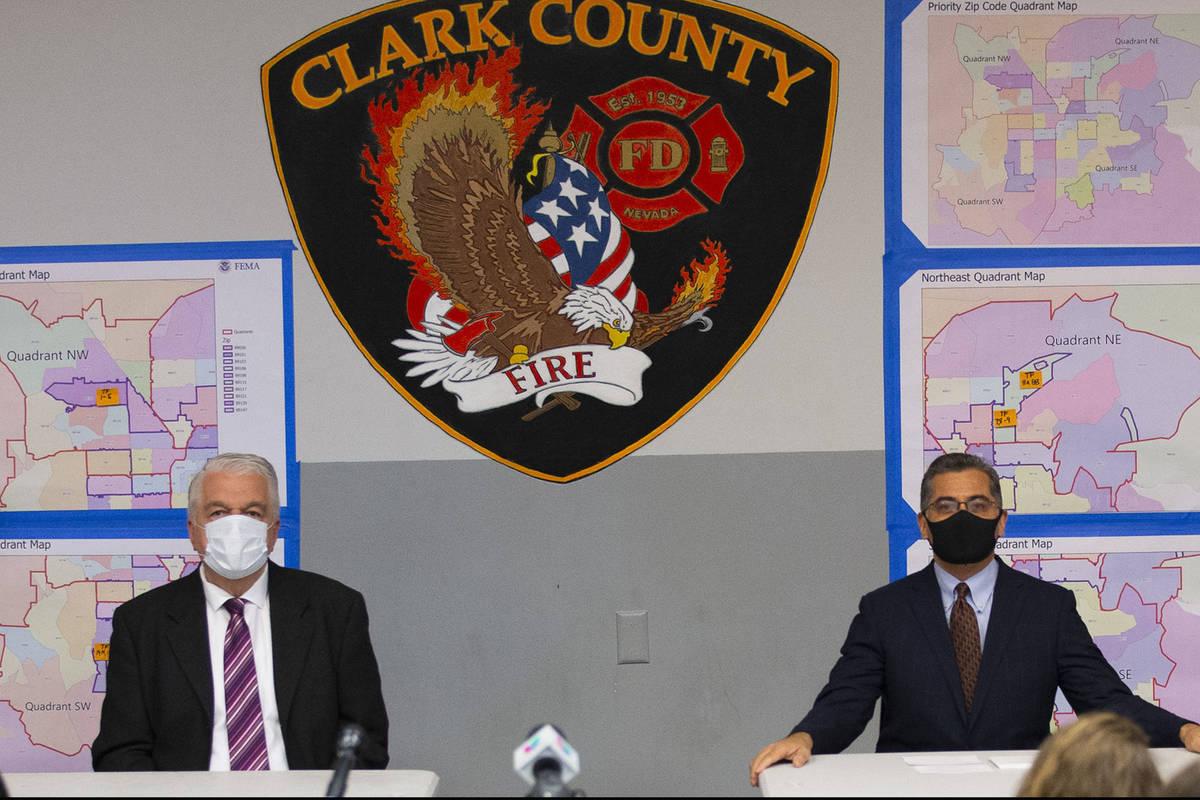 Nevada Governor Steve Sisolak, U.S. Health and Human Services Secretary Xavier Becerra particip ...
