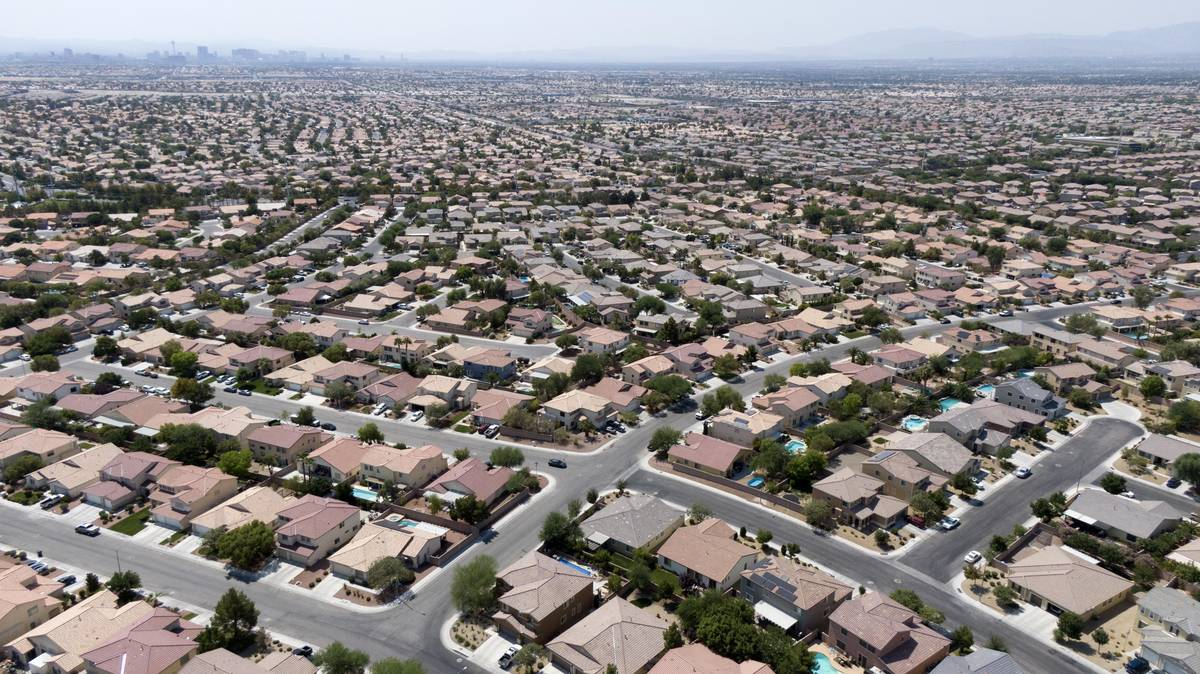 An aerial view of housing near Night Owl Bluff Avenue and Bluff Hollow Place in North Las Vegas ...