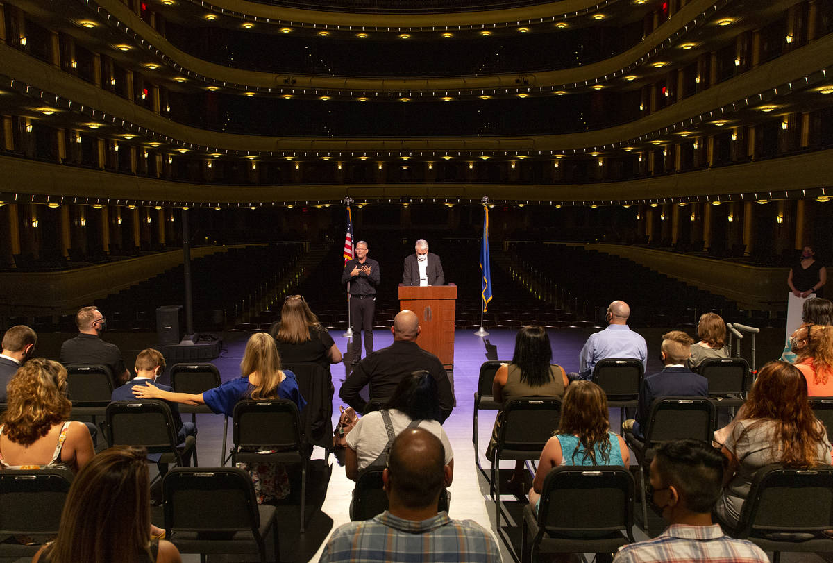 Gov. Steve Sisolak and Immunize Nevada announce the third round Vax Nevada Days winners at The ...