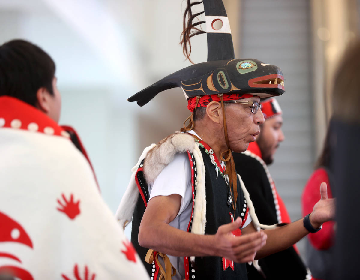 Members of Yaaw Tei Yi Tlingit/Haida Tribal dance group from Juneau, Alaska, including Gerald M ...
