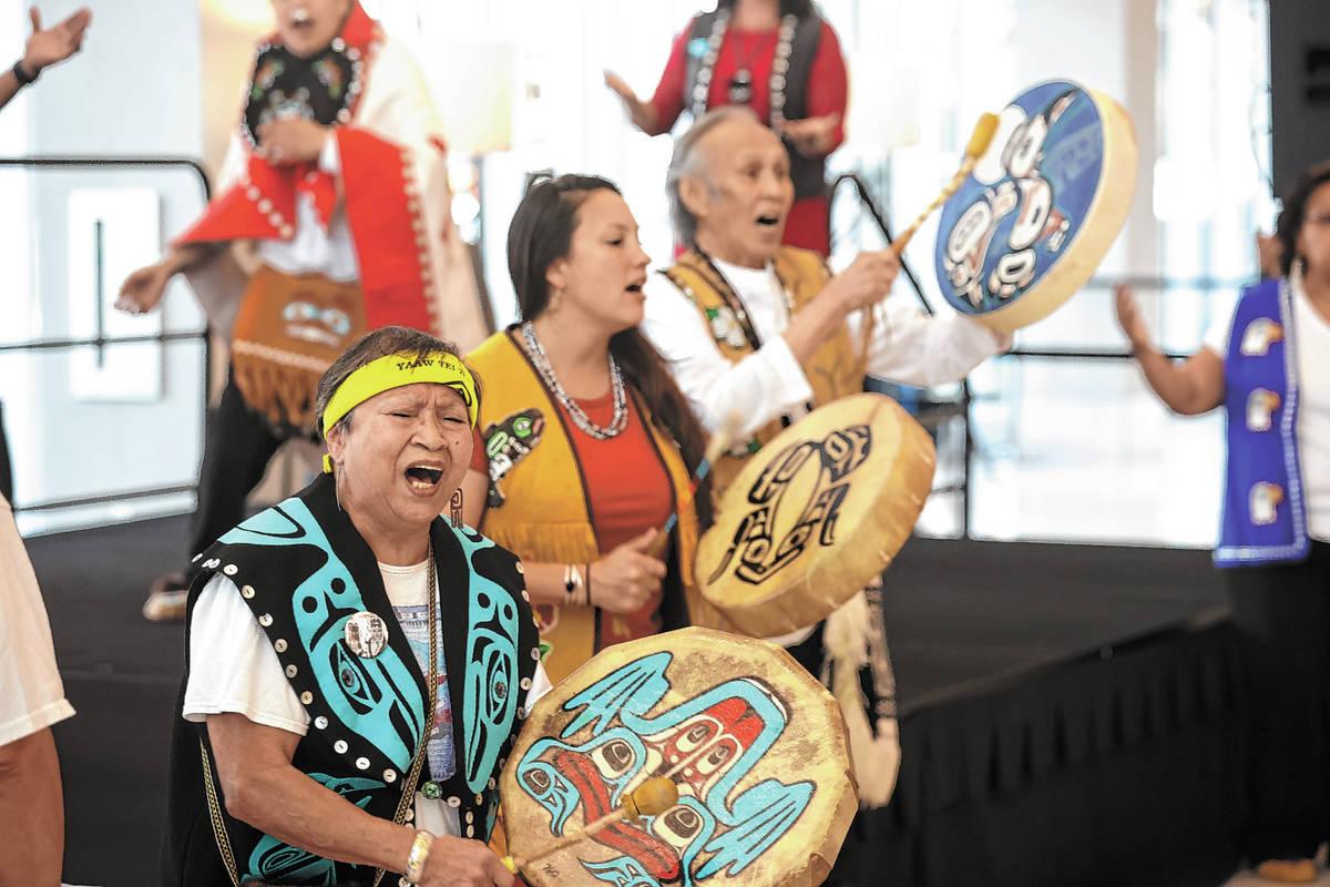 Members of Yaaw Tei Yi Tlingit/Haida Tribal dance group from Juneau, Alaska, including drummers ...