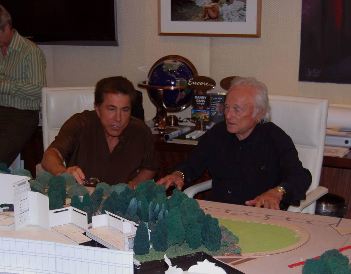 Former Wynn Resorts Ltd. Chairman and CEO Steve Wynn, left, works with landscape architect Don ...
