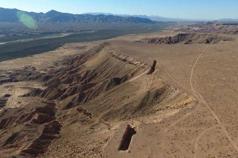 """An aerial view of """"Double Negative,"""" an earth sculpture by Michael Heizer on Mormon Mesa just n ..."""