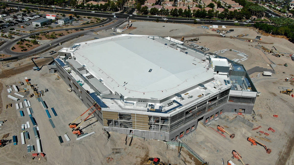 Aerial view of the Dollar Loan Center in Henderson, home to the Silver Knights hockey team, on ...