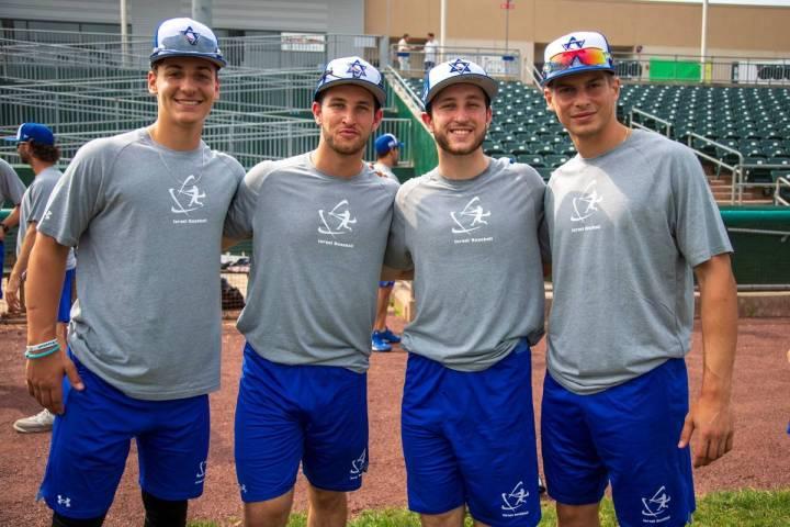 Elie Kligman, far left, recently barnstormed with Israel's Olympic baseball team. The Cimarron- ...