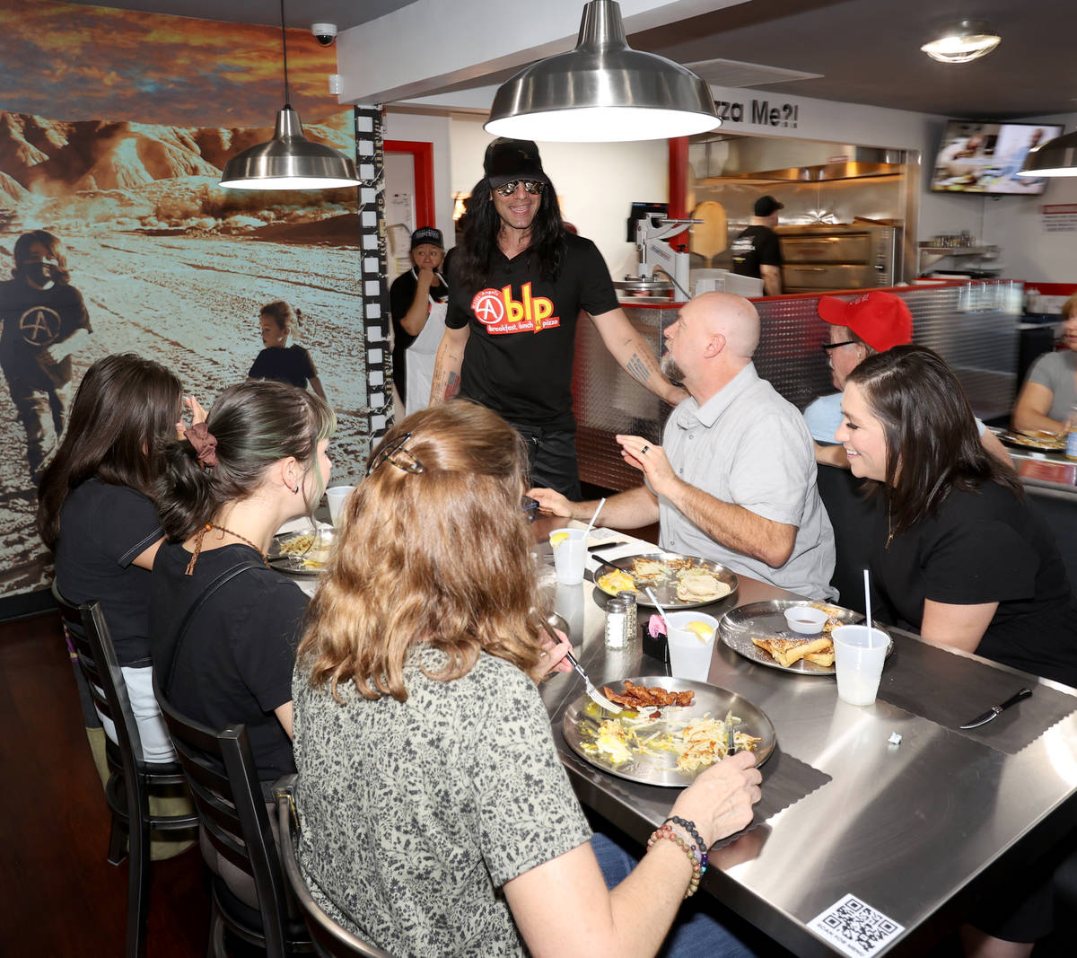 Criss Angel greets guests at his new restaurant, CABLP, in Overton during the grand opening Fri ...