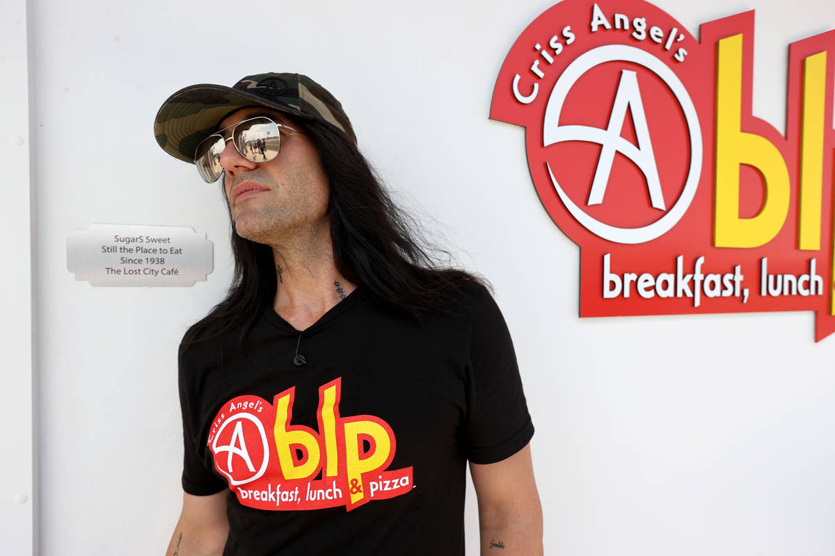 Criss Angel poses at his new restaurant, CABLP, in Overton during the grand opening Friday, Jul ...