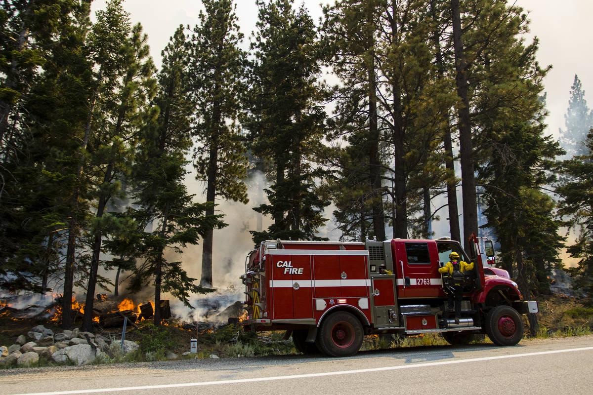 So-Cal firefighters conflict  the Tamarack Fire astir   California State Route 88 adjacent   Alpine Villa ...