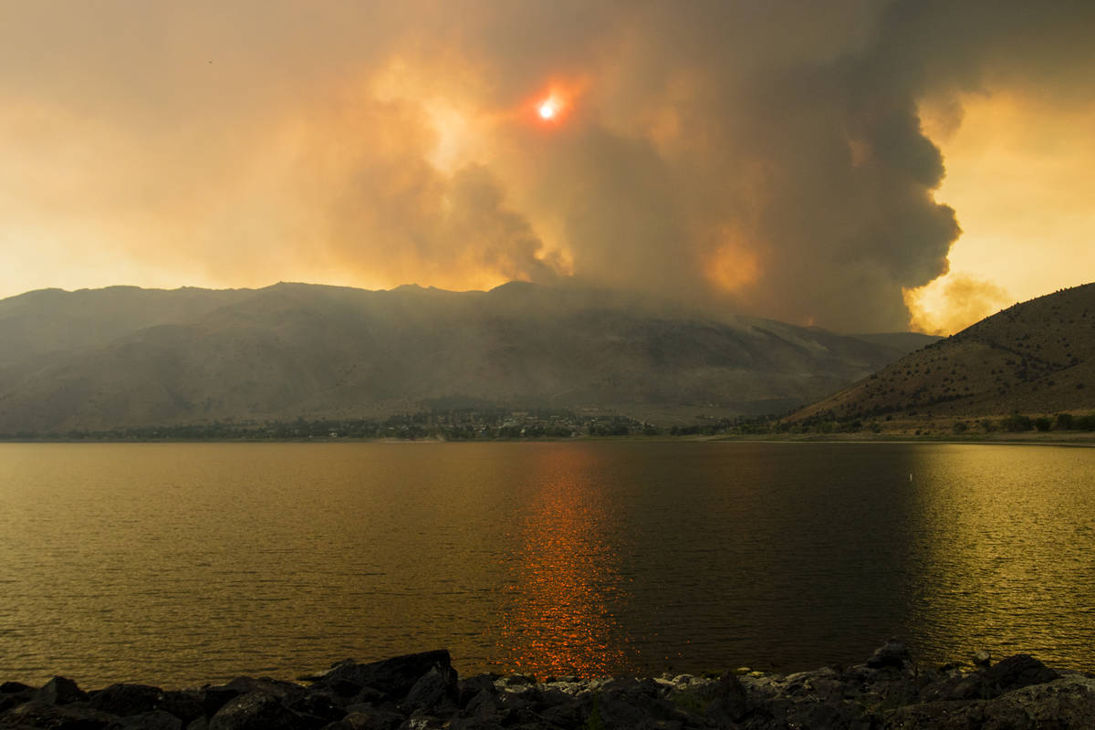 The Tamarack Fire burns astir   Topaz Lake, Nev., Friday, July 23, 2021. (Ty Oneil/Special to th ...