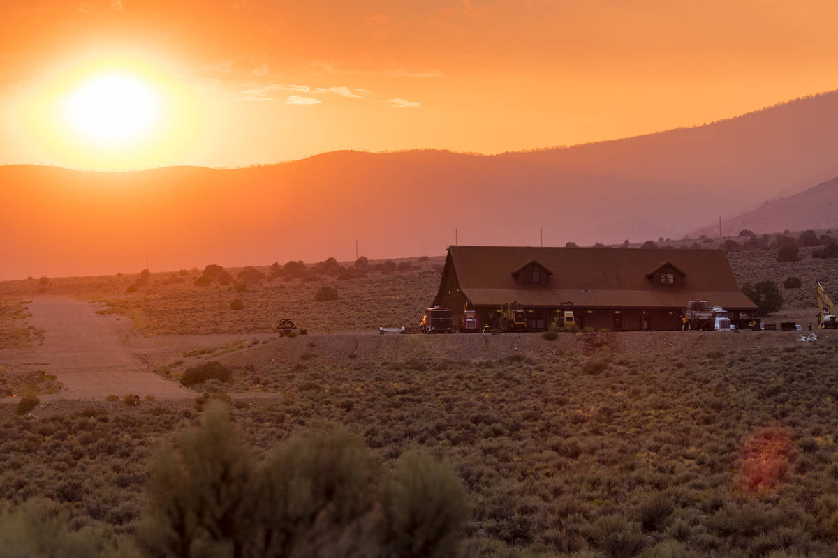Sunset is seen arsenic  adjacent   Nevada State Route 208, eastbound  of Holbrook Junction successful  Nevada, Friday, Jul ...