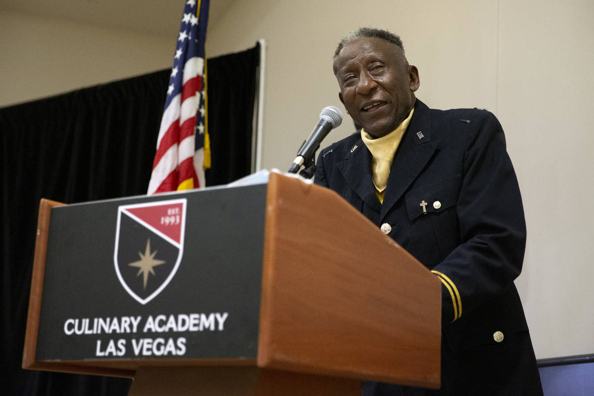 Trooper Rev. Dr. Willie Lee Henry, chapter chaplain of the Las Vegas Buffalo Soldiers, speaks d ...