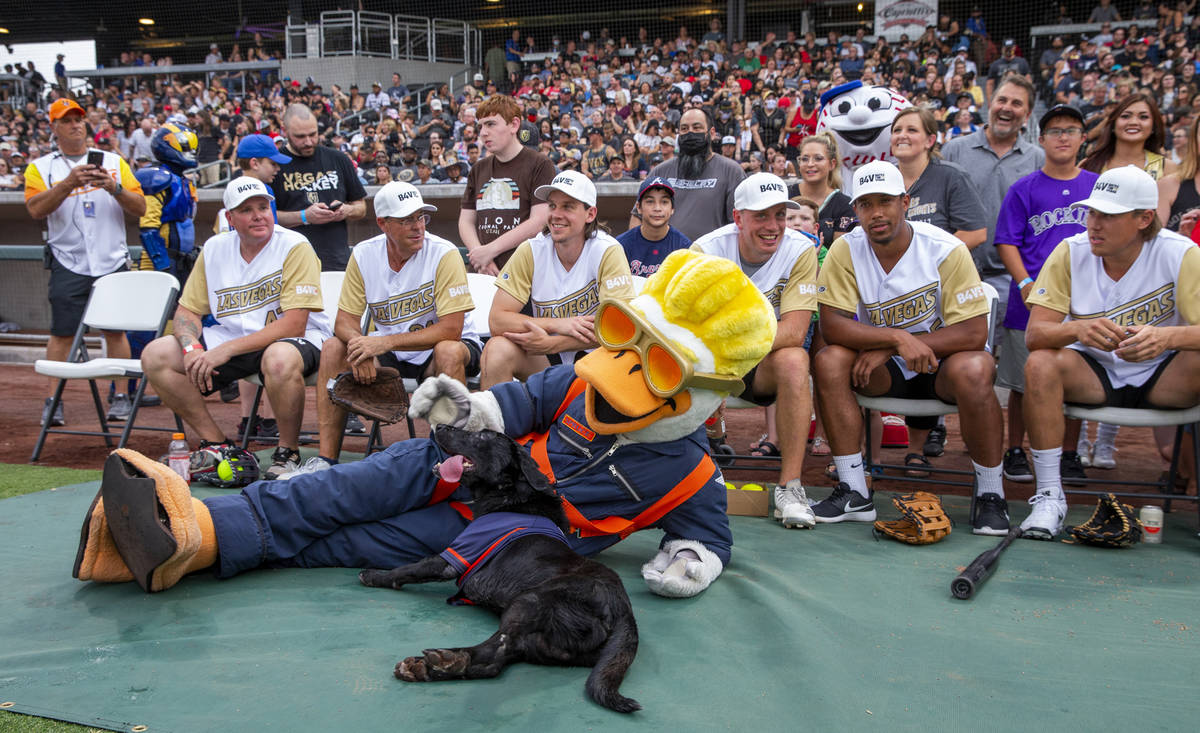 Vegas Golden Knights are joined by the Spruce Goose and bat dog Finn before facing the Las Vega ...