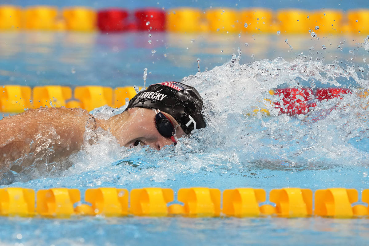 Katie Ledecky, of the United States, swims successful  the last  of the women's 400-meters freestyle astatine  ...