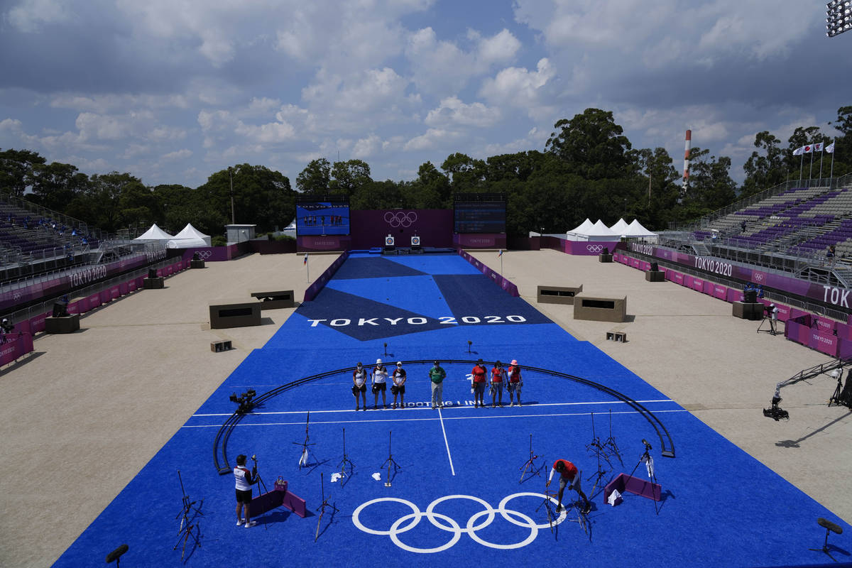 A presumption    of the Yumenoshima Park Archery Field earlier  the women's squad  contention  betwixt  German ...