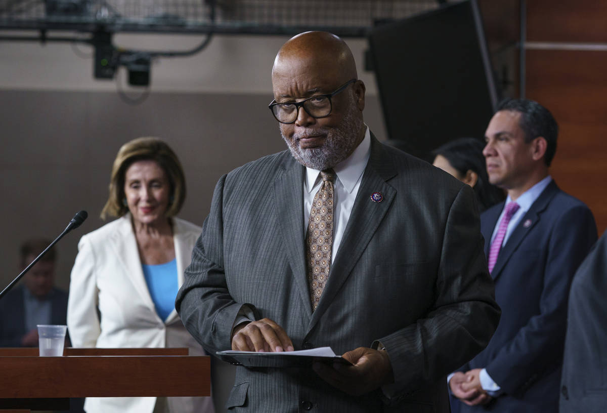FILE - In this July 1, 2021, file photo Rep. Bennie Thompson, chairman of the House Homeland Se ...