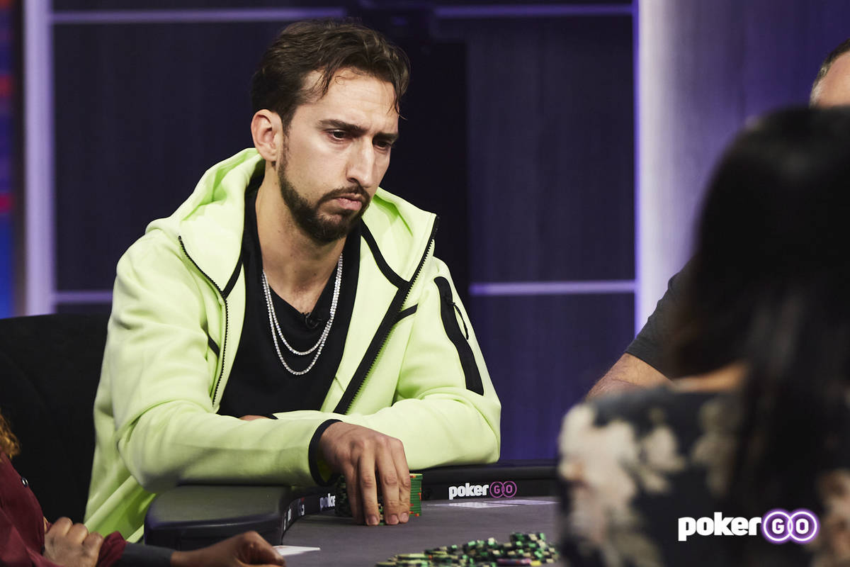 """Nick Wright plays on an upcoming episode of """"Poker After Dark"""" at the PokerGO studio by the Ari ..."""