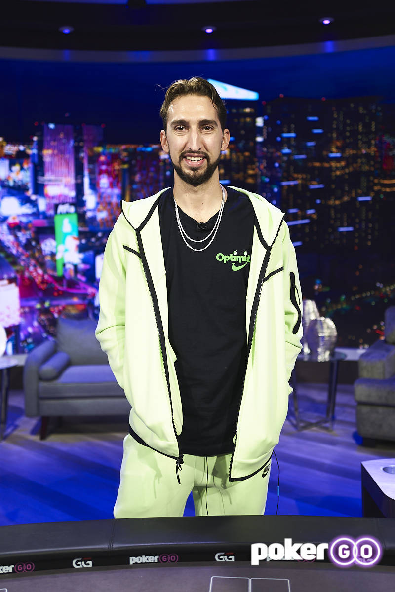 """Nick Wright at the taping of an upcoming episode of """"Poker After Dark"""" at the PokerGO studio by ..."""