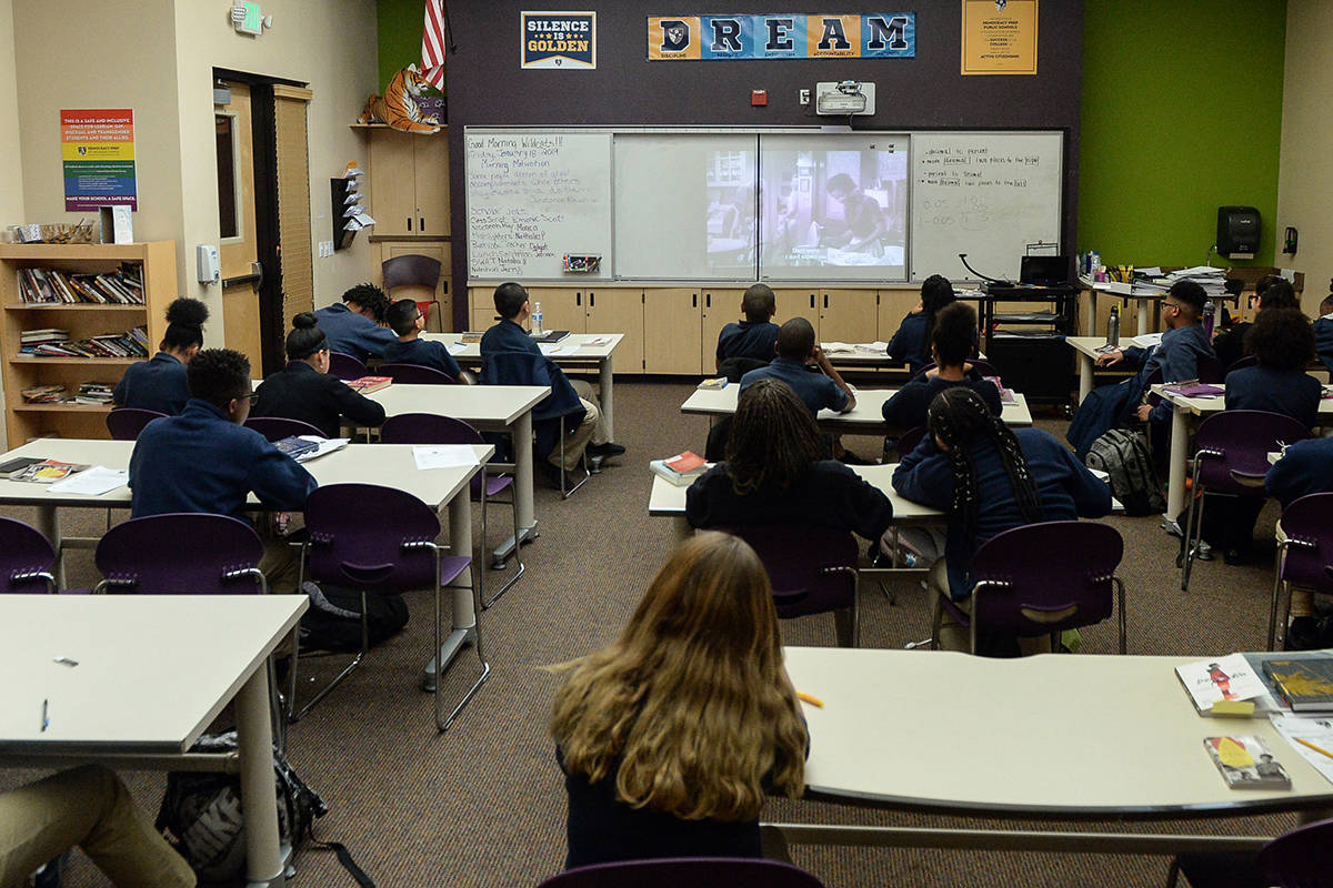 A seventh grade classroom studies English at Democracy Prep in Las Vegas in this Jan. 22, 2019, ...