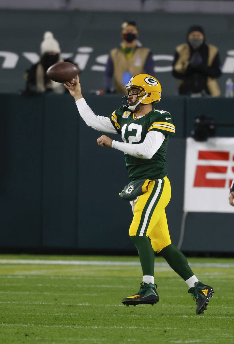 Green Bay Packers quarterback Aaron Rodgers (12) during an NFL game between the Atlanta Falcons ...