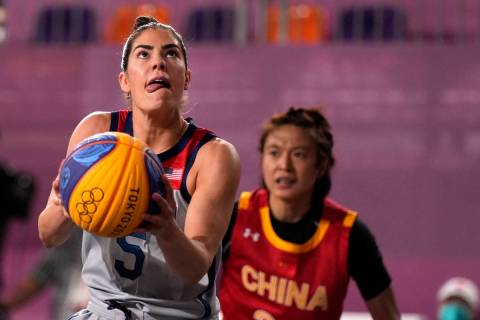 Kelsey Plum, of the United States, shoots during a women's 3-on-3 basketball game against China ...