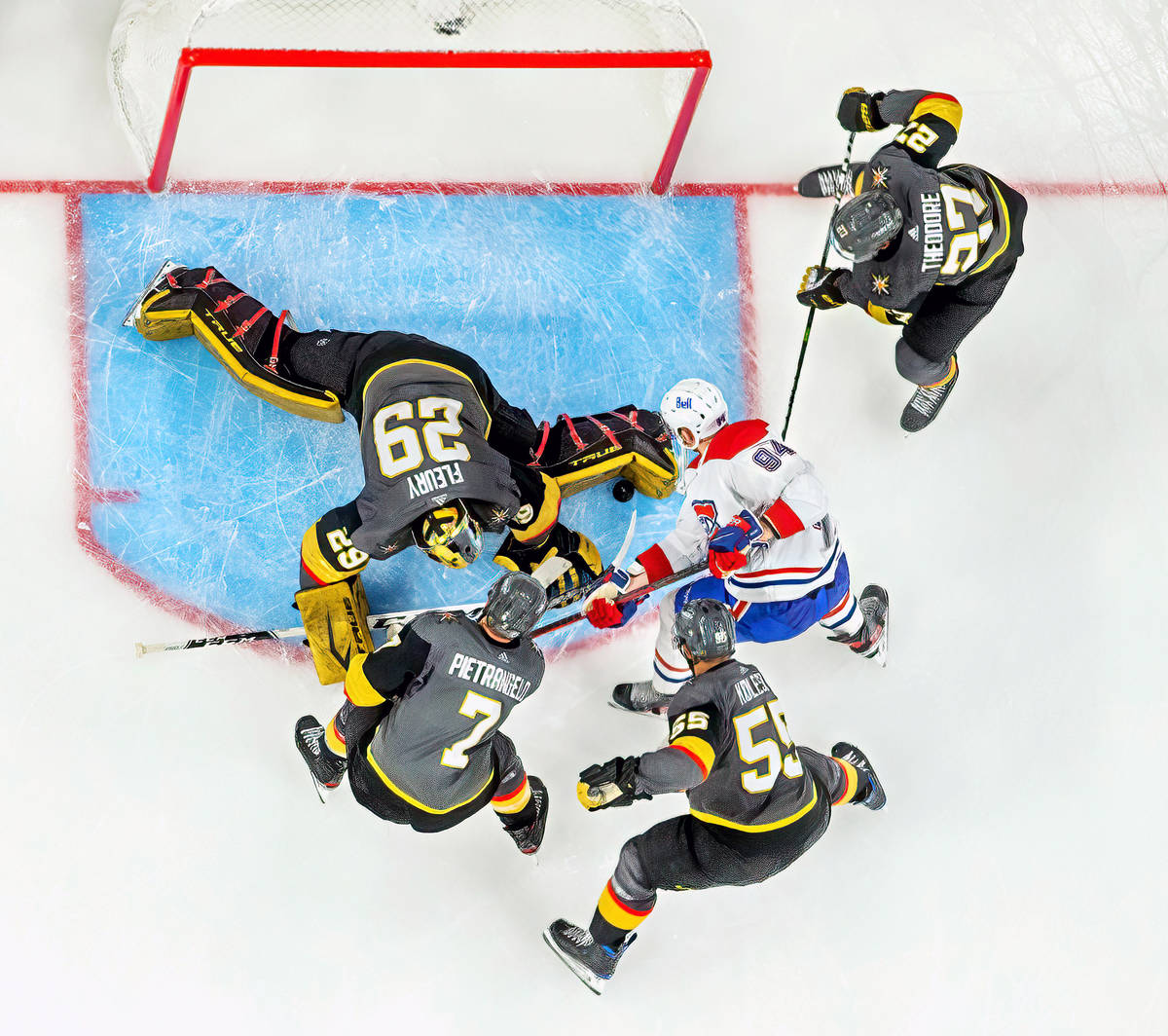 Golden Knights goaltender Marc-Andre Fleury (29) stops a shot from Montreal Canadiens right win ...