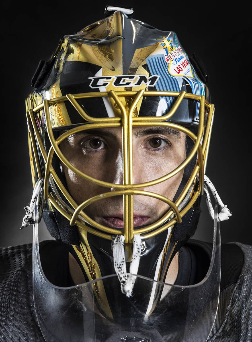 Golden Knights goaltender Marc-Andre Fleury poses for a portrait at City National Arena on Thur ...
