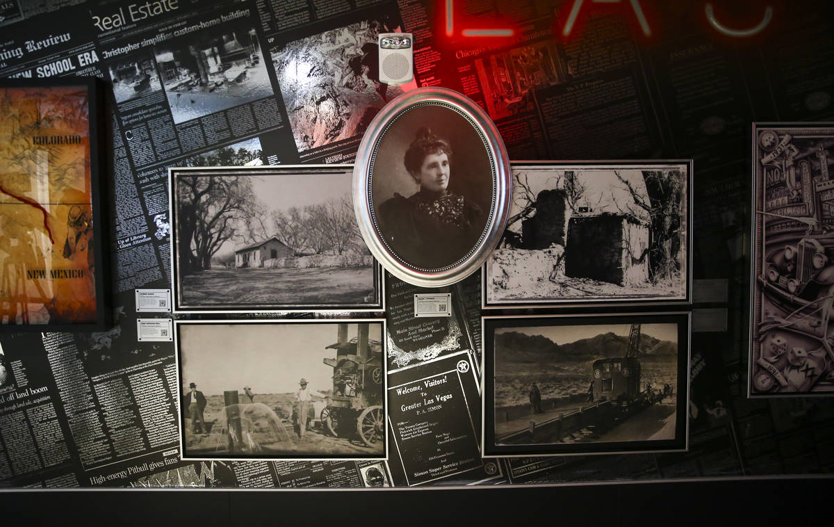 Historical photographs are seen, including a portrait of Helen J. Stewart, during a tour of the ...