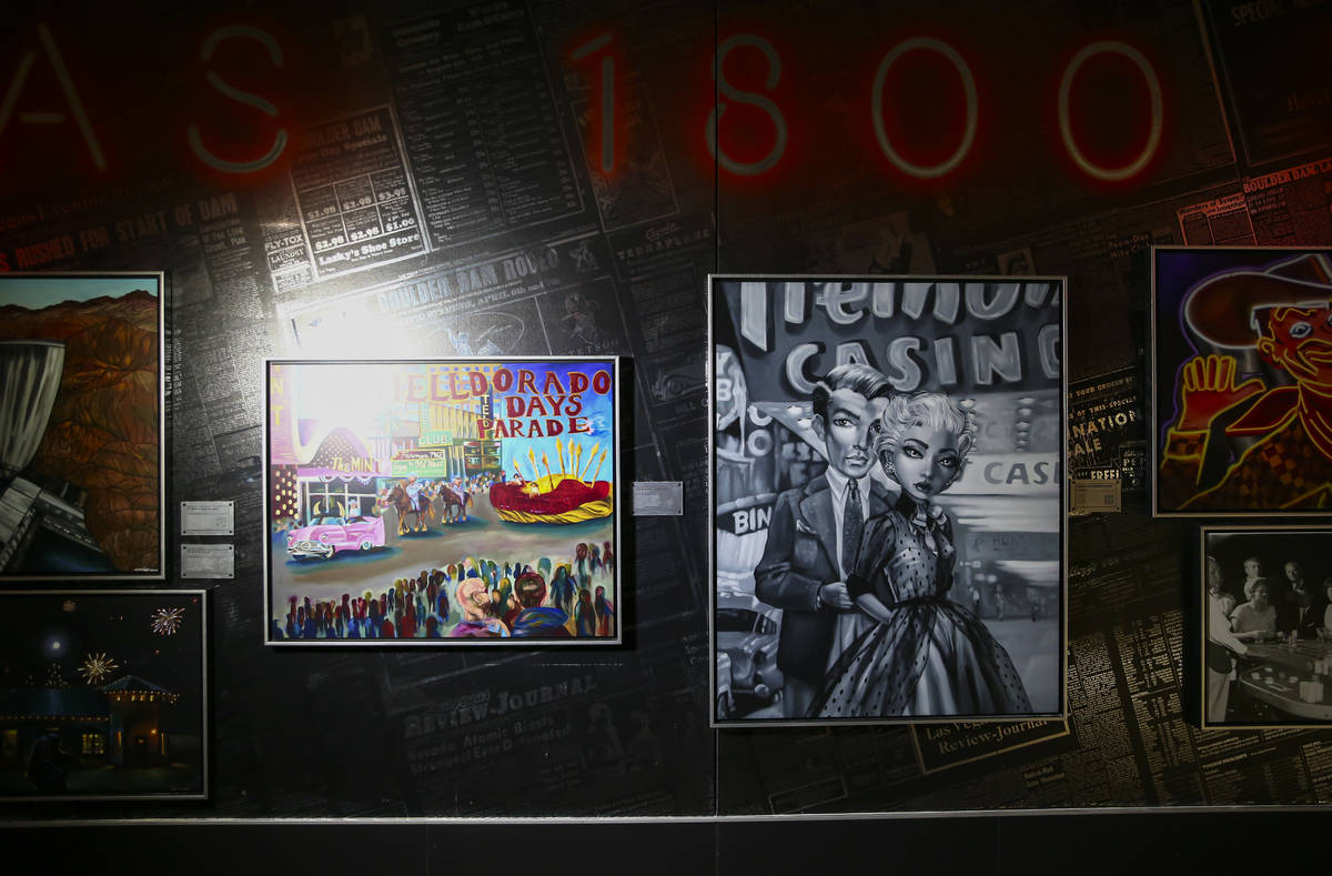 A variety of artwork is seen during a tour of the Allegiant Stadium art collection, a project l ...