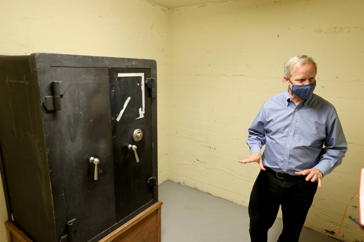 Railroad Pass owner Joe DeSimone shows a safe at his Henderson casino Monday, July 26, 2021, ah ...