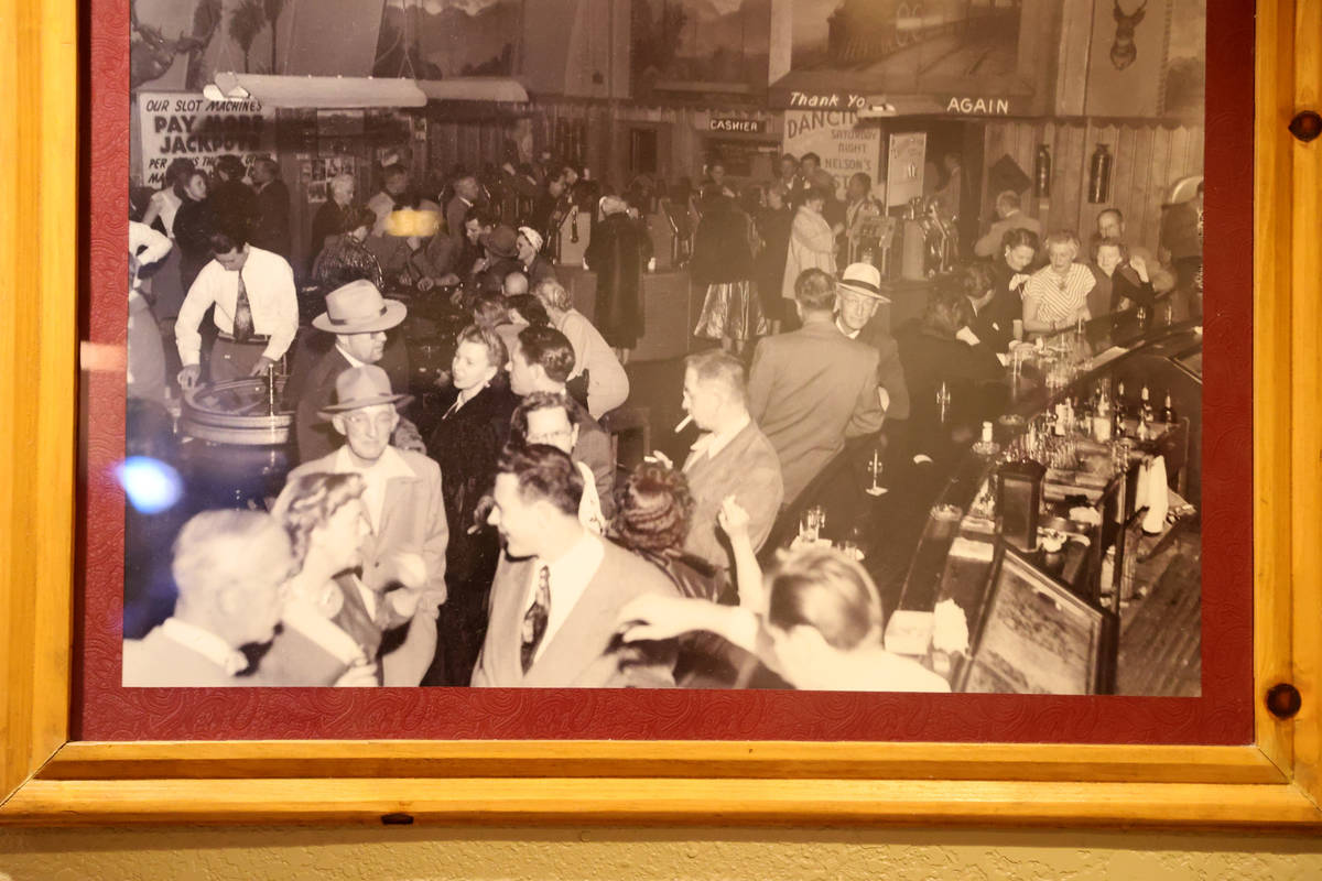 A historical photo showing the original casino floor and bar on the wall at Railroad Pass casin ...
