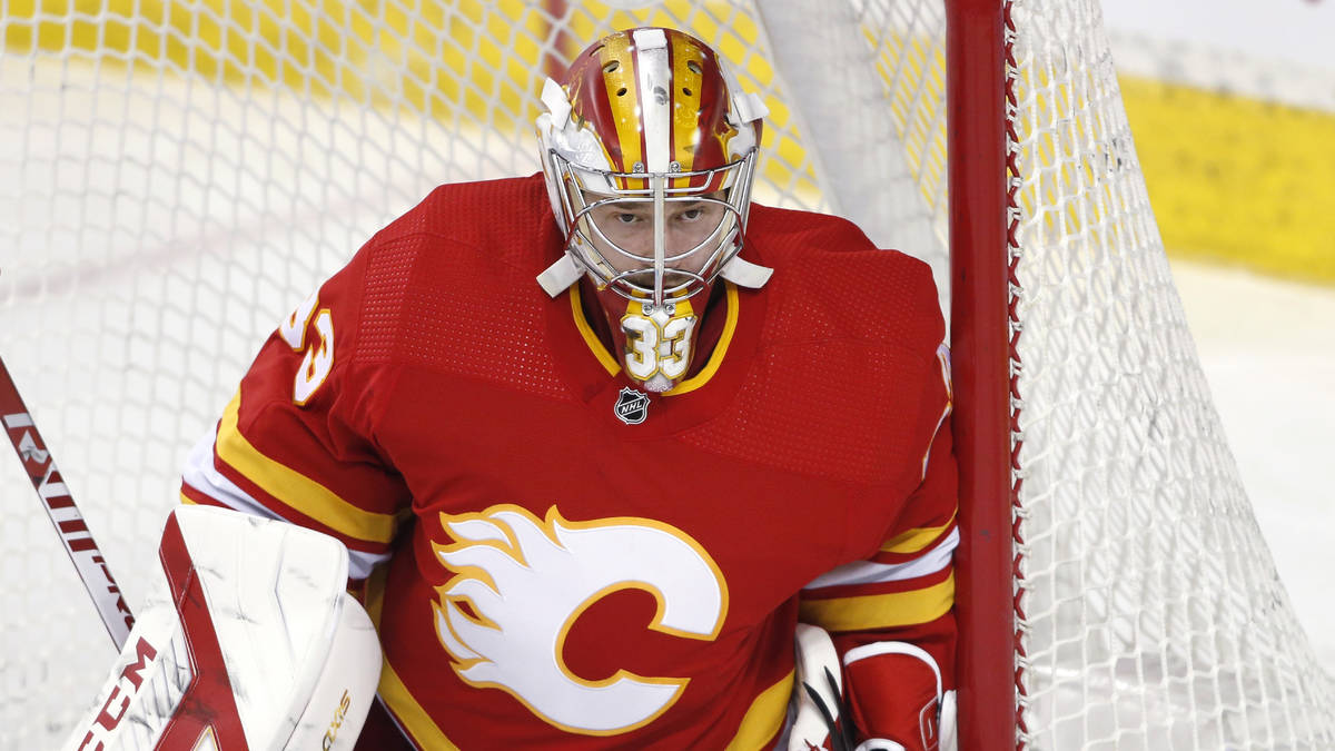Calgary Flames goalie David Rittich, from Czech Republic, during an NHL hockey game, Friday, Fe ...