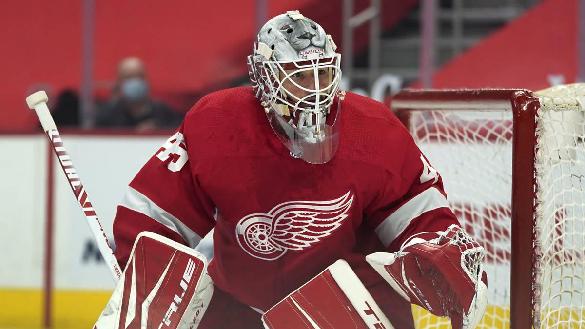 Detroit Red Wings goaltender Jonathan Bernier (45) plays against the Carolina Hurricanes in the ...