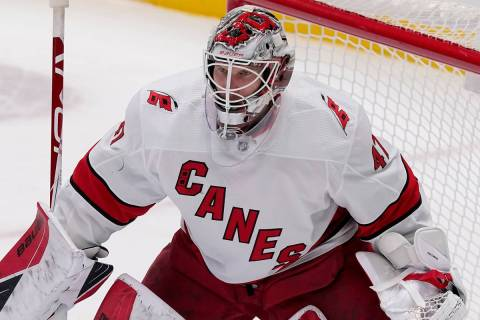 Carolina Hurricanes' James Reimer minds the net during an NHL hockey game against the Dallas St ...