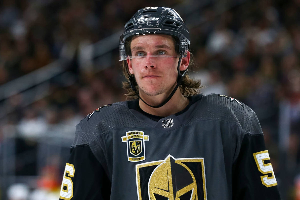 Vegas Golden Knights left wing Erik Haula (56) on the ice during the second period of an NHL ho ...