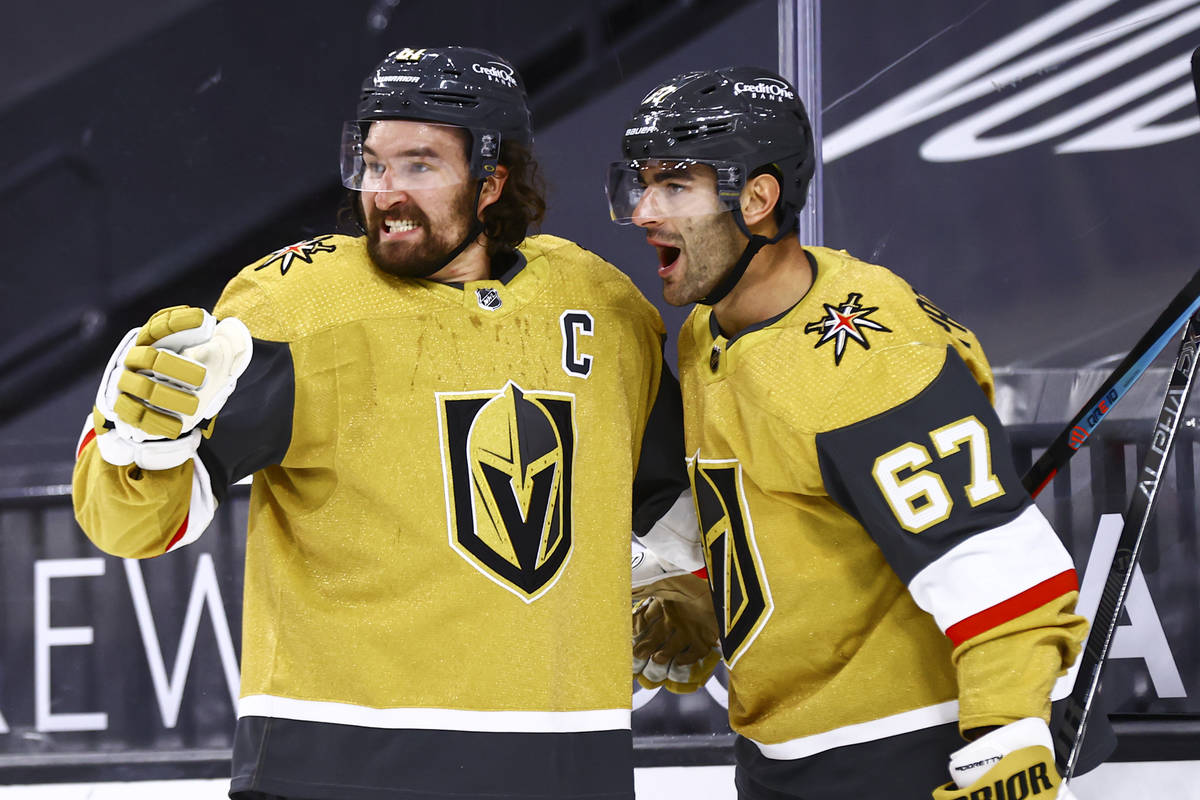 Golden Knights left wing Max Pacioretty (67) celebrates his overtime goal against the Anaheim D ...