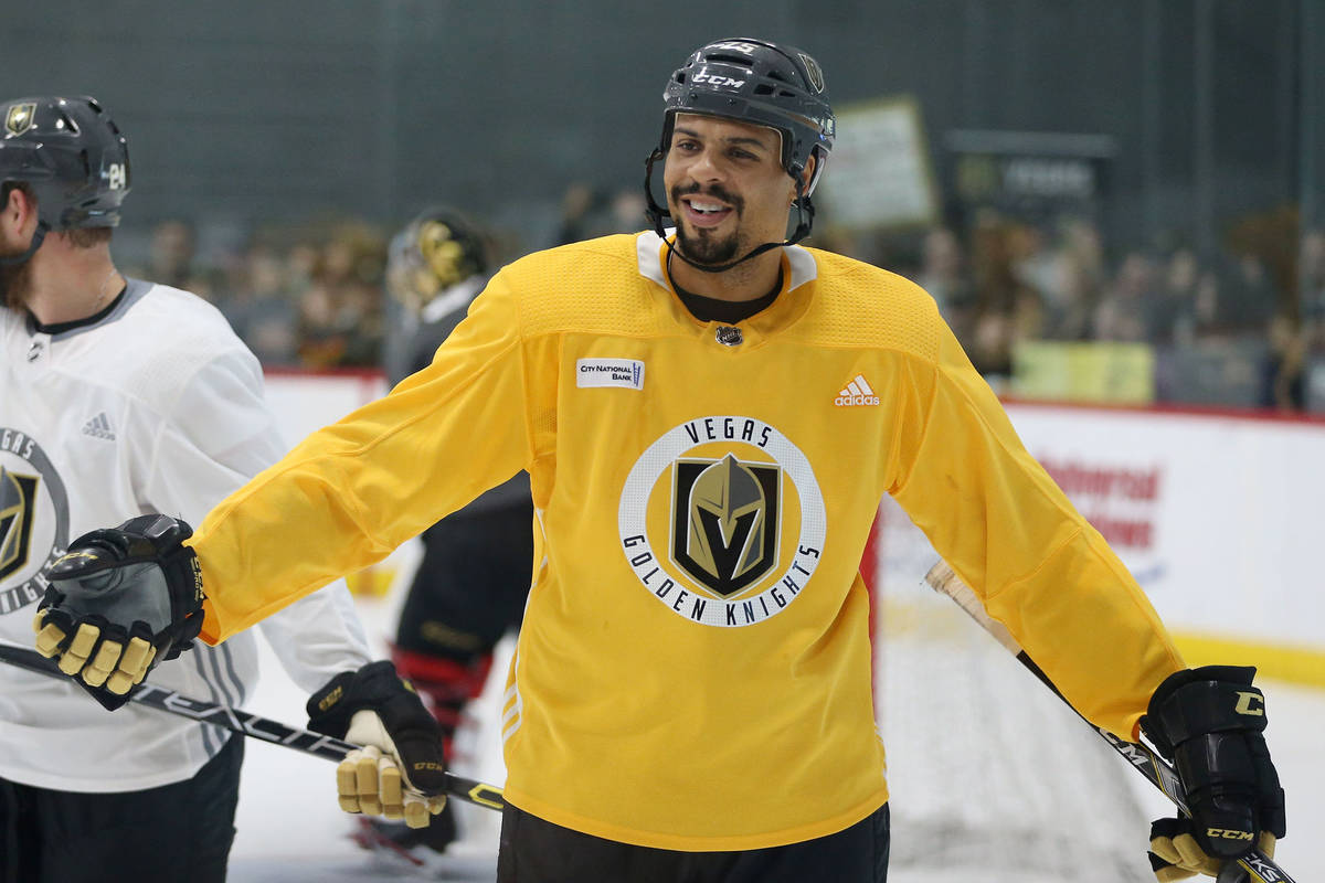 Vegas Golden Knights right wing Ryan Reaves (75) during a team practice at City National Arena ...