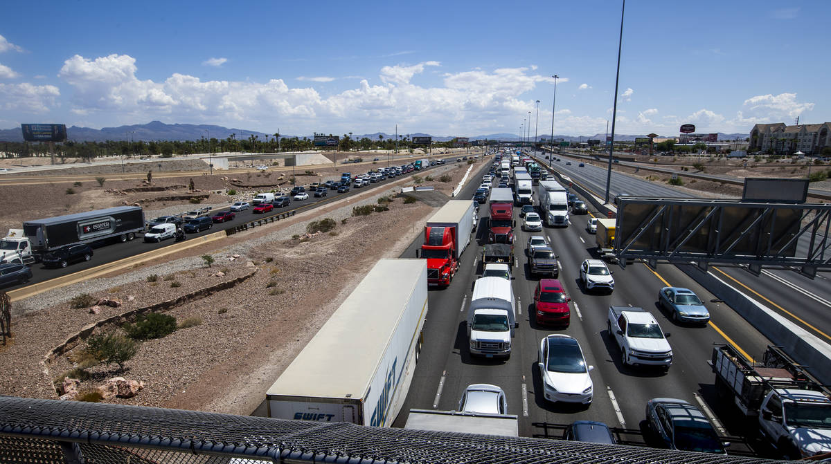 Traffic is backed up on the I-15 northbound lanes to the 215 Beltway south from Russell Road du ...