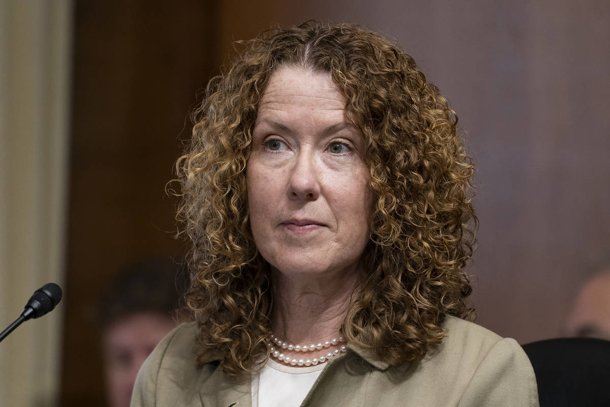 FILE - In this June 8, 2021, file photo, Tracy Stone-Manning listens during a confirmation hear ...