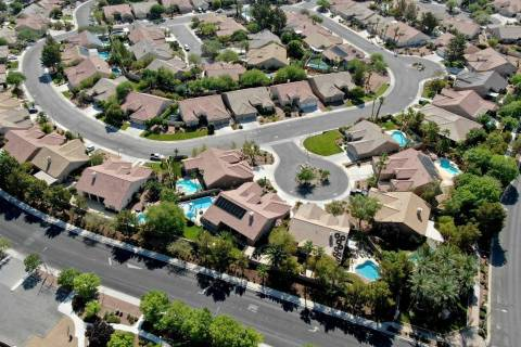 An aerial view of housing near Paseo Verde Parkway and Desert Shadow Trail in Henderson, Nevada ...