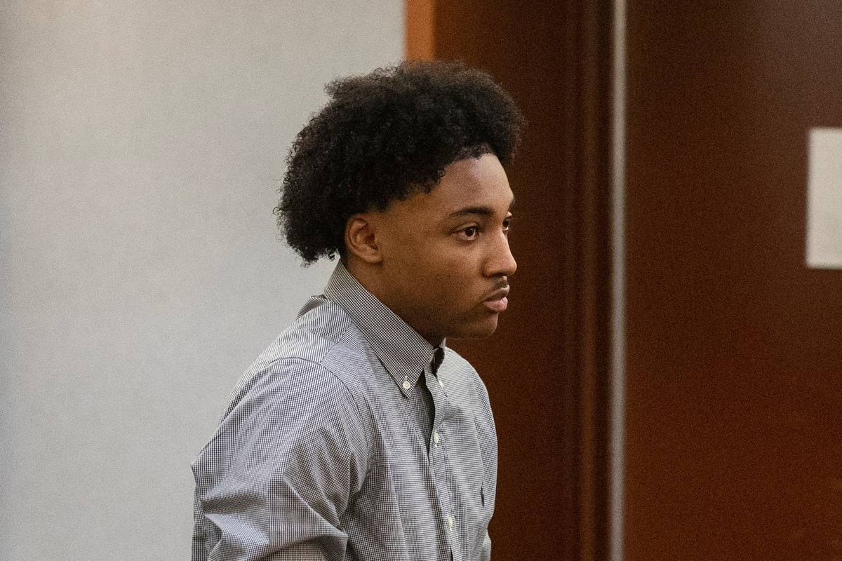 Former Bishop Gorman High School basketball standout Zaon Collins leaves the courtroom after Co ...